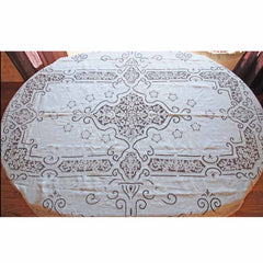 Antique White Linen Cutwork Embroidered  Swiss Appenzell Tablecloth Esso Oil Provenance - The Best Vintage Clothing  - 10