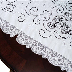 Antique White Linen Cutwork Embroidered  Swiss Appenzell Tablecloth Esso Oil Provenance - The Best Vintage Clothing  - 12