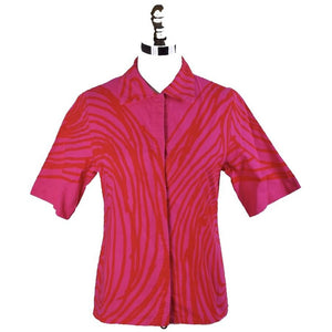 Vintage Vuokko Finnish Designer Shirt Blouse Hot Pink Abstract XS 1970s