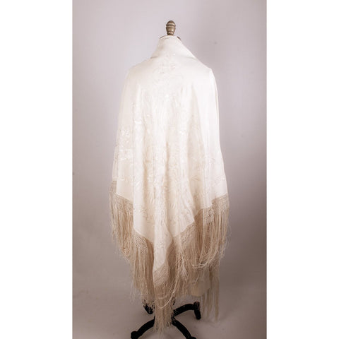 Antique Ivory Silk Shawl Embroidered Fringed HUGE Monocolor Wedding Downton Peonies