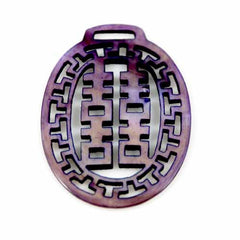 Victorian Antique Chinese  Mop Necklace Fob Vintage Purple - The Best Vintage Clothing  - 2