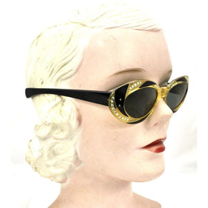 VTG Sunglasses Made In France  Oval Cateye Cat Eye 2 Tone Rhinestone 1950-60s