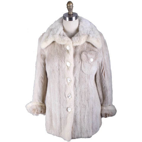 Womens Vintage De'Cor Blonde Ranch Mink CPO Jacket S/M 1970s