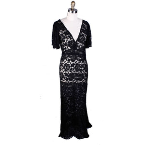 Womens 1930s Antique Vintage Bias Cut Black Lace Gown Flutter Sleeves S/M