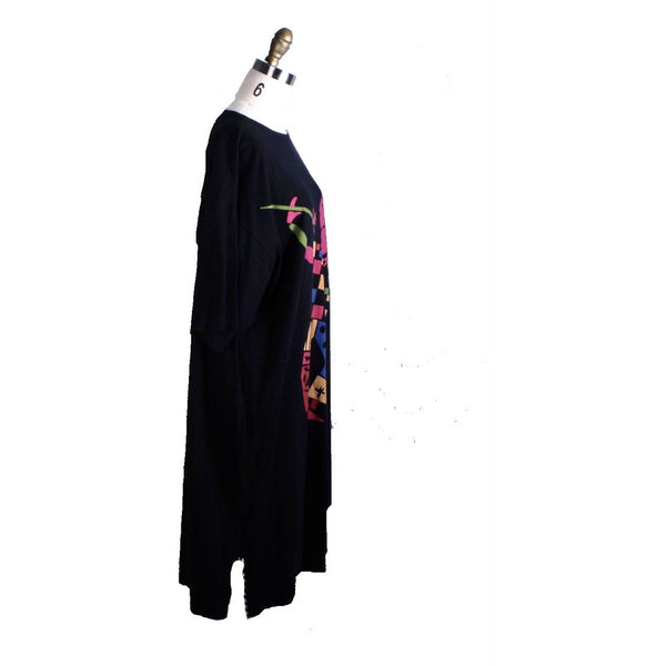 Unique RARE Marimekko Cotton Knit Clown Dress 80s NWOT Black womens O/S