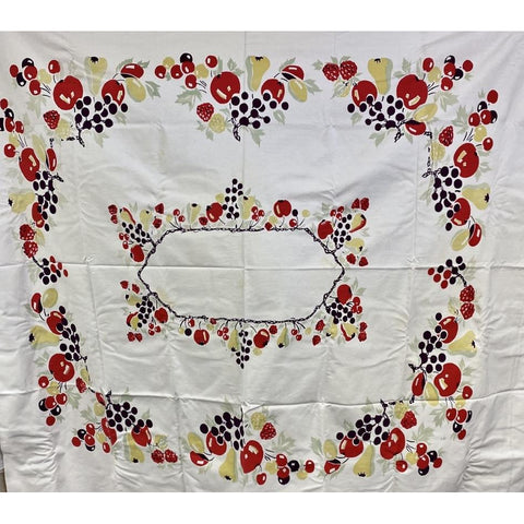 Vintage Printed Cotton  Tablecloth Cherries/Pears/Apples 1940'S