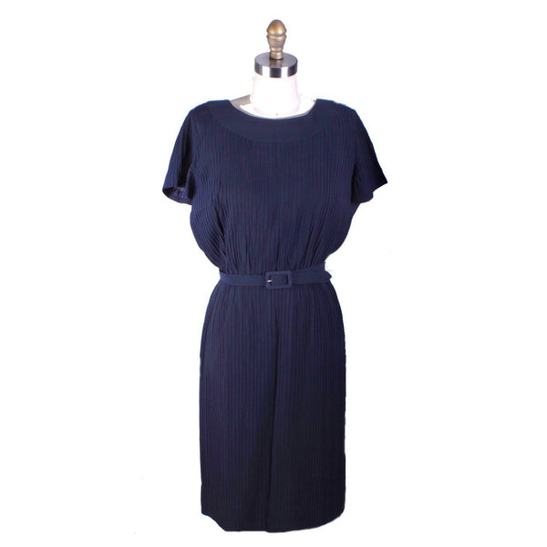 Navy Blue Vintage Day Dress R&K All-over Pleats 1950s Medium Rayon Wiggle