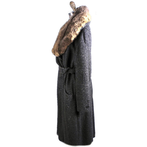 Womens 1920s Art Deco Coat Downton Miss Fisher Heavy Tweed Large Fur Trimmed