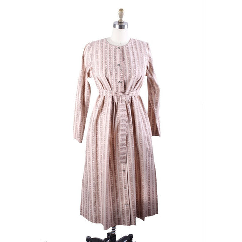 Vintage Marimekko Dress 1970s  Womens S 38/10 Shift Dress Pink & Cream Mini Print Stripe