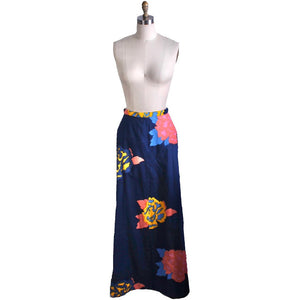 "Vintage  Cotton Maxi Skirt Mod 1960s Big Floral A Line Womens 28"" Waist Medium"