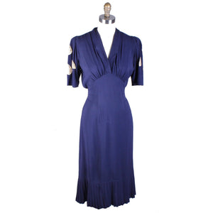 Vintage 1940s Dress Rayon Navy Blue With Lace Appliques WW2 Sz M