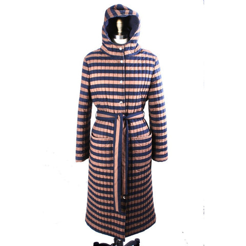 Vintage 1970s Vuokko Suomi Finland Striped Cotton Quilted Coat Snap Front Mod EU 44  M L