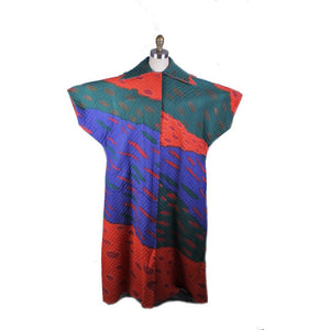 Dramatic Vintage 1970s Marimekko Colorful Tent Dress Lounger Quilted S