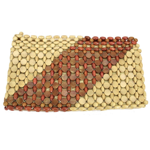 Vtg Wood Bead Clutch Bag 1970s Tan, Brown, Rust