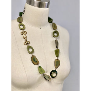 Vintage Necklace Robert Zentall Green Super Chunky Plastic  1970s 28""