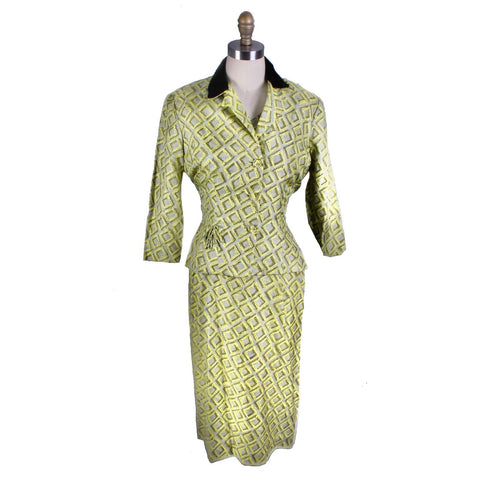 Vintage 1950s Silk Dress Wiggle MCM Roseweb Chartreuse/Black Dress & Jacket Size M NWOT