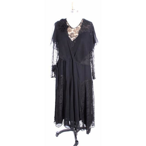 Stunning Vintage  1930s Silk Chiffon/ Lace Gown Size M Black Excellent Condition Wearable