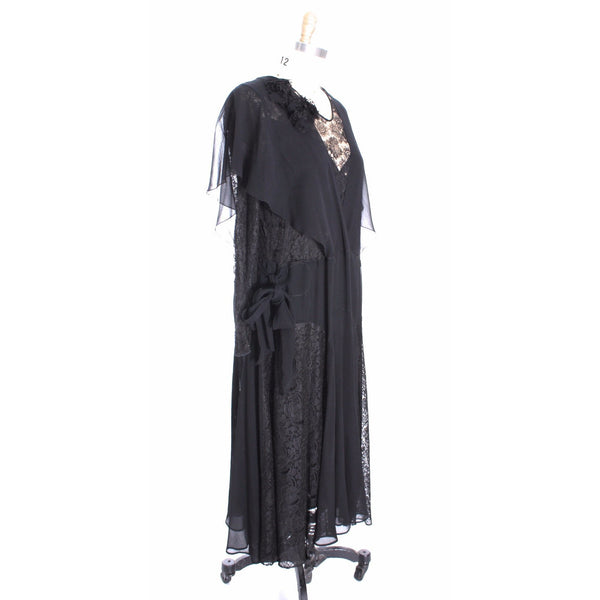 Stunning Vintage  1930s Silk Chiffon/ Lace Gown Size M Black Excellent Condition Wearable - The Best Vintage Clothing  - 3