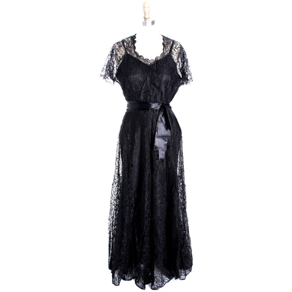 VTG 1940s Lace Gown Black Full Length M + Slip Wearable 40-32-44 - The Best Vintage Clothing  - 1