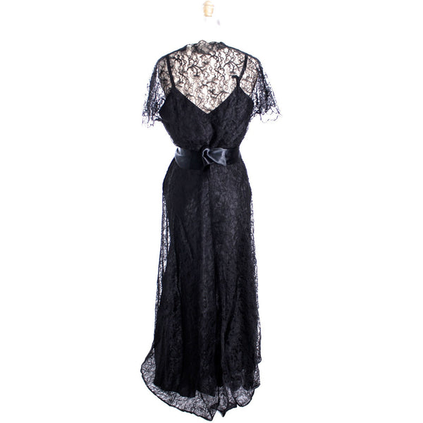 VTG 1940s Lace Gown Black Full Length M + Slip Wearable 40-32-44 - The Best Vintage Clothing  - 6