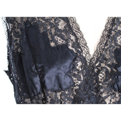NOS Black Lace 1930s Negligee Lingerie Nightgown Risque! Never Worn Large Sz 40 - The Best Vintage Clothing  - 4