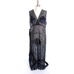 NOS Black Lace 1930s Negligee Lingerie Nightgown Risque! Never Worn Large Sz 40 - The Best Vintage Clothing  - 6