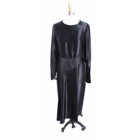 Vintage Antique Black Silk Satin Dress 1920s Art Deco M Wearable - The Best Vintage Clothing  - 1