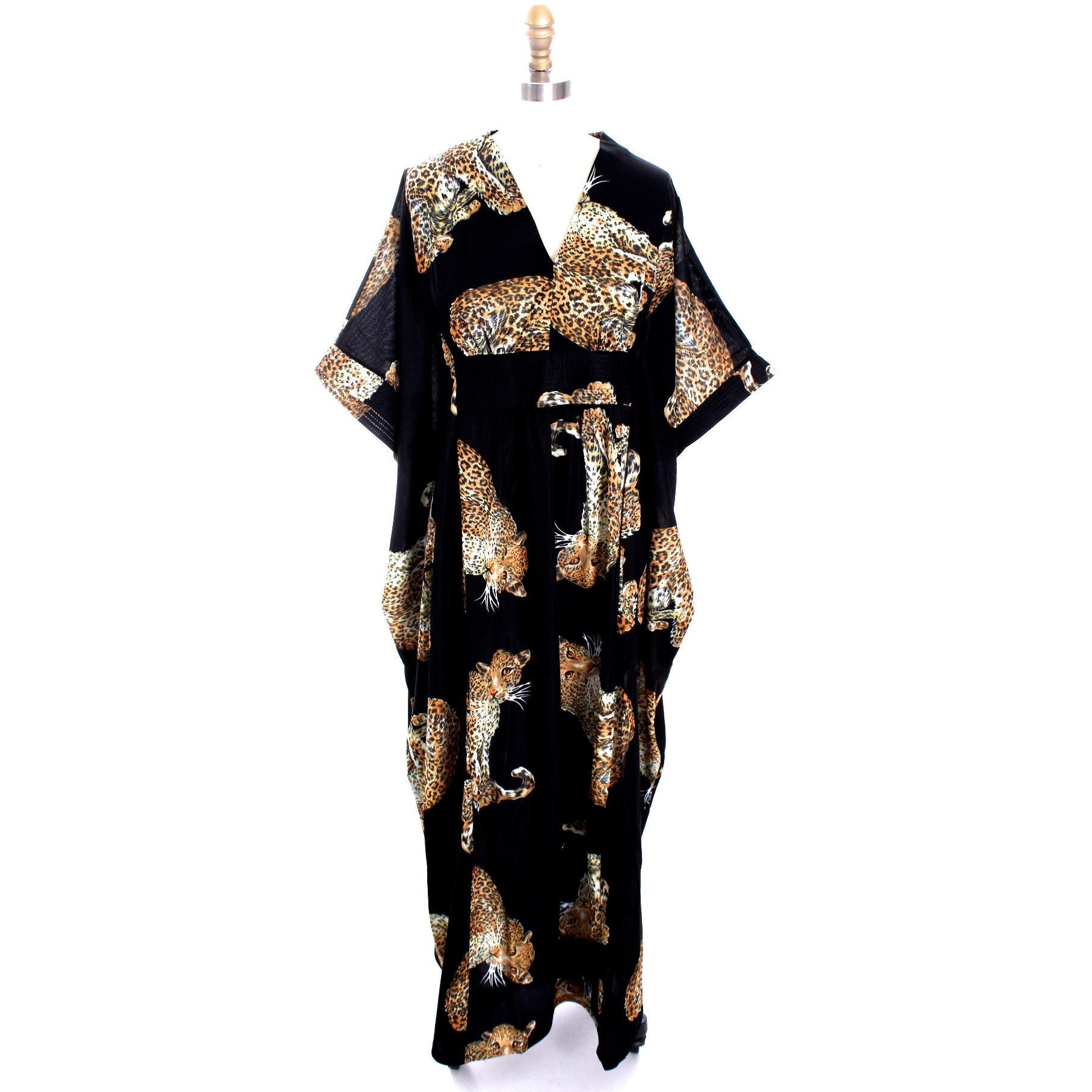 Vintage 1970s Lounge Caftan Robe Cat Leopard Animal Print NWT Butterfield 8 Nylon O/S - The Best Vintage Clothing  - 1