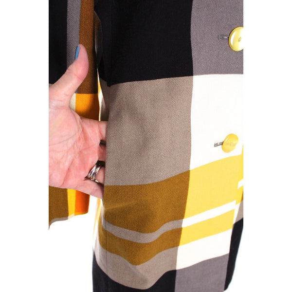 Vintage Weatherbee Linen Coat Color Block Yellow Black Gray 1970s M Mod Plaid