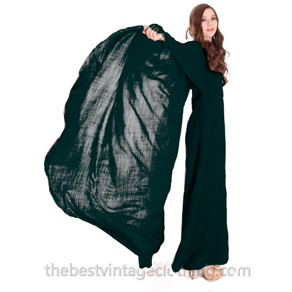 Stunning Vuokko Circle Cape Gown 1960s Black Wool Voile Iconic Design Finland 38 /8
