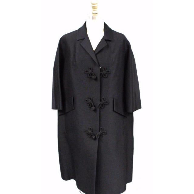Vintage Womens Evening Coat Black Fine Wool 1950S Oriental Style Frogs Large - The Best Vintage Clothing  - 1
