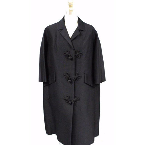 Vintage Womens Evening Coat Black Fine Wool 1950S Oriental Style Frogs Large