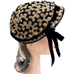Vintage Hat Jack O'Connell Russ Russell Embroidered Black / Copper 1950S - The Best Vintage Clothing  - 3