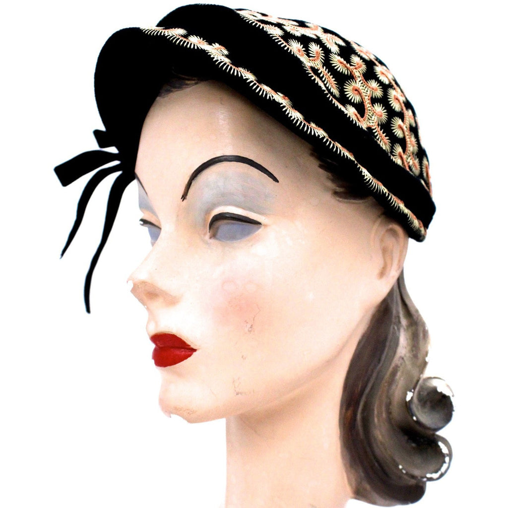 Vintage Hat Jack O'Connell Russ Russell Embroidered Black / Copper 1950S - The Best Vintage Clothing  - 1