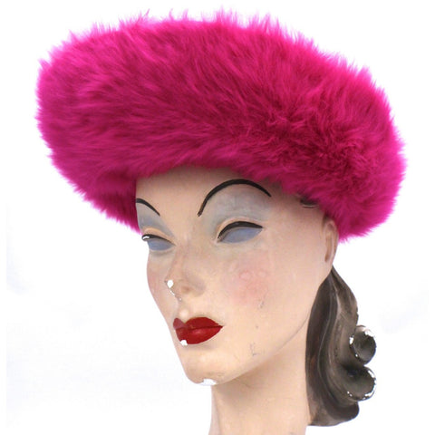 Vintage Ladies Hat Hot Pink Angora Mr. John Junior New w/Tags 1960s