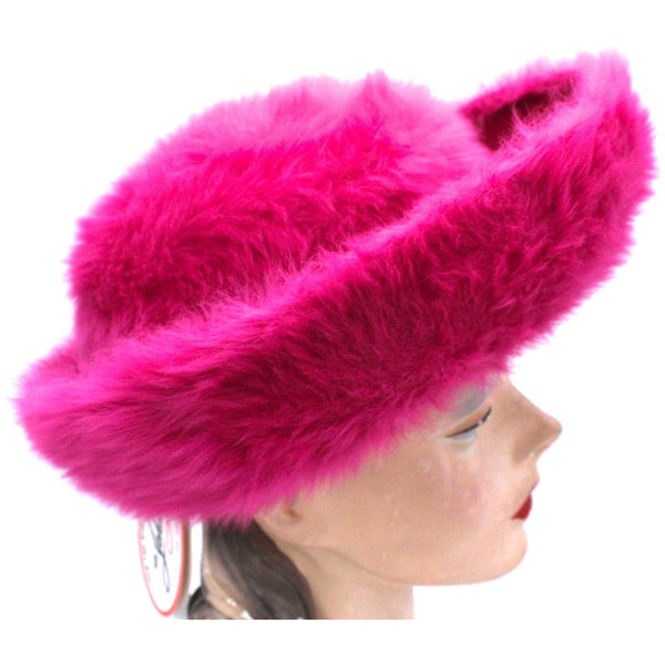 Vintage Ladies Hat Hot Pink Angora Mr. John Junior New w/Tags 1960s - The Best Vintage Clothing  - 4