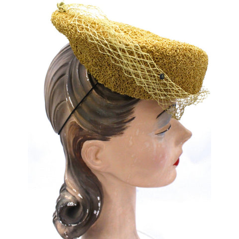 Mr. John Vintage Hat Fascinator Early Straw Hat  1940S