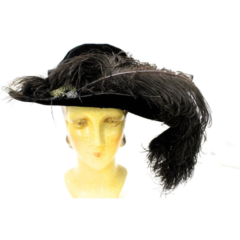 Antique Womens Hat Large Brimmed Cloche Early 1920s 1910s Black Velvet Feathers Carnival Beads Ornaments