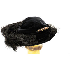 Antique Womens Hat Large Brimmed Cloche Early 1920s 1910s Black Velvet Feathers Carnival Beads Ornaments - The Best Vintage Clothing  - 4