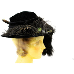 Antique Womens Hat Large Brimmed Cloche Early 1920s 1910s Black Velvet Feathers Carnival Beads Ornaments - The Best Vintage Clothing  - 6