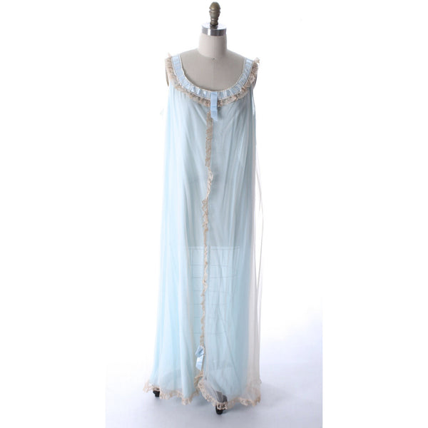 Odette Barsa VTG Nylon Lingerie Nightgown Robe Set Lace Peignoir Negligee Blue M & L NWT 1960s - The Best Vintage Clothing  - 2
