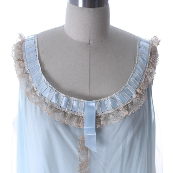 Odette Barsa VTG Nylon Lingerie Nightgown Robe Set Lace Peignoir Negligee Blue M & L NWT 1960s - The Best Vintage Clothing  - 3