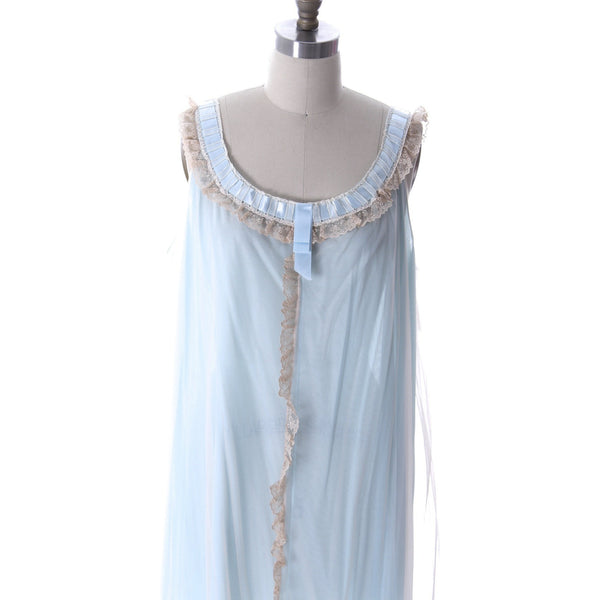 Odette Barsa VTG Nylon Lingerie Nightgown Robe Set Lace Peignoir Negligee Blue M & L NWT 1960s - The Best Vintage Clothing  - 4