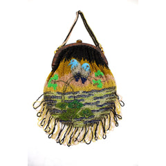 Stunning Antique Vintage Beaded Bag 1920s Bluebirds of Happiness Motif Celluloid Frame Worthy of Miss Fisher - The Best Vintage Clothing  - 4