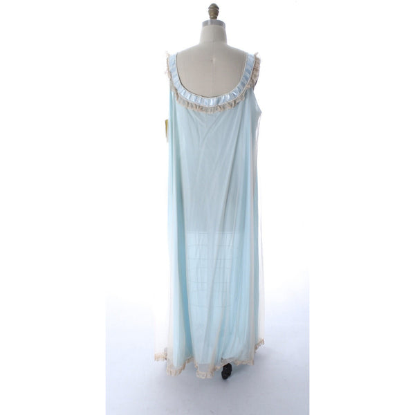Odette Barsa VTG Nylon Lingerie Nightgown Robe Set Lace Peignoir Negligee Blue M & L NWT 1960s - The Best Vintage Clothing  - 6