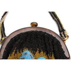 Stunning Antique Vintage Beaded Bag 1920s Bluebirds of Happiness Motif Celluloid Frame Worthy of Miss Fisher - The Best Vintage Clothing  - 7