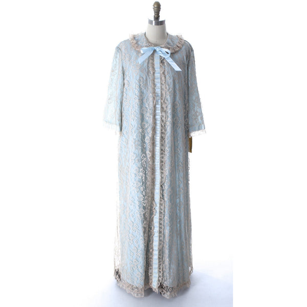 Odette Barsa VTG Nylon Lingerie Nightgown Robe Set Lace Peignoir Negligee Blue M & L NWT 1960s - The Best Vintage Clothing  - 8