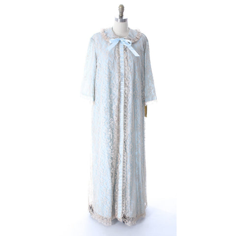 Odette Barsa VTG Nylon Lingerie Nightgown Robe Set Lace Peignoir Negligee Blue M & L NWT 1960s