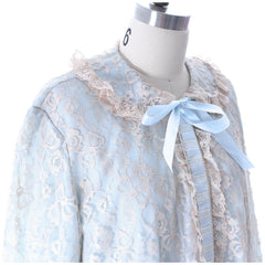Odette Barsa VTG Nylon Lingerie Nightgown Robe Set Lace Peignoir Negligee Blue M & L NWT 1960s - The Best Vintage Clothing  - 10