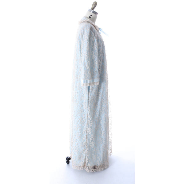 Odette Barsa VTG Nylon Lingerie Nightgown Robe Set Lace Peignoir Negligee Blue M & L NWT 1960s - The Best Vintage Clothing  - 11